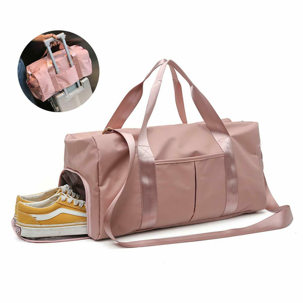 Gym With Shoe Compartment Sport Duffle Bag Pink