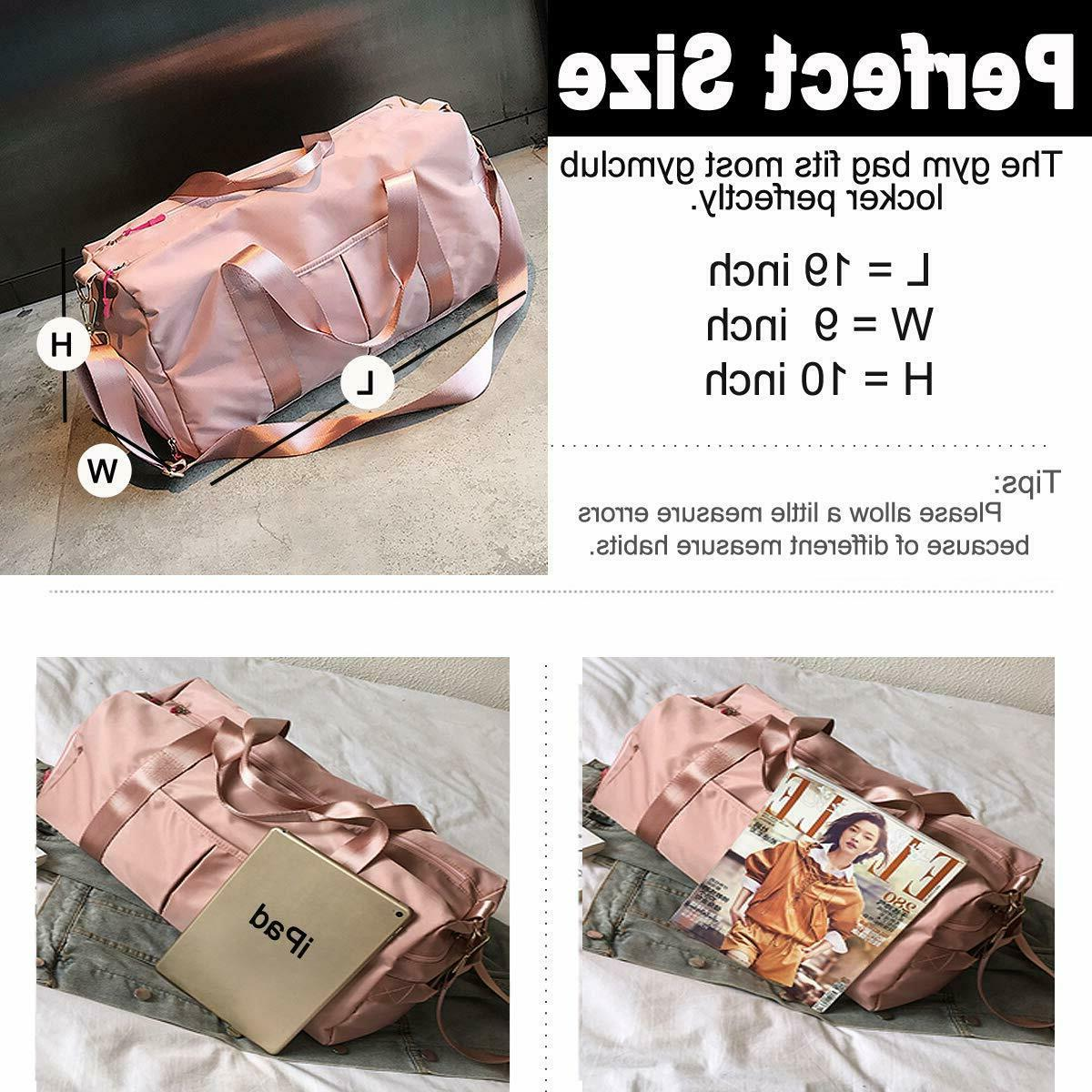 Gym Compartment Duffle Bag Wet Pocket Pink