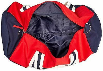 TOMMY HILFIGER LARGE GYM DUFFLE BAG NAVY RED UNISEX