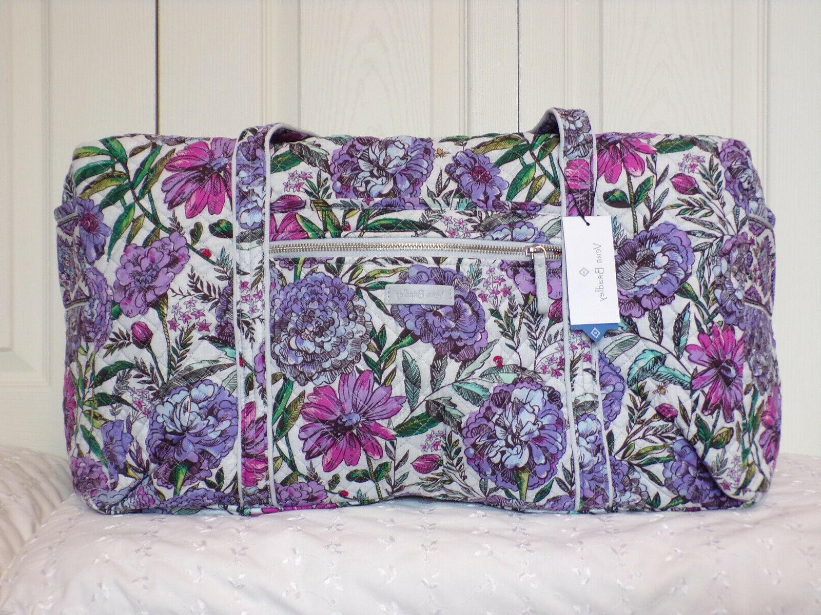 lavender meadow iconic large travel duffel nwt