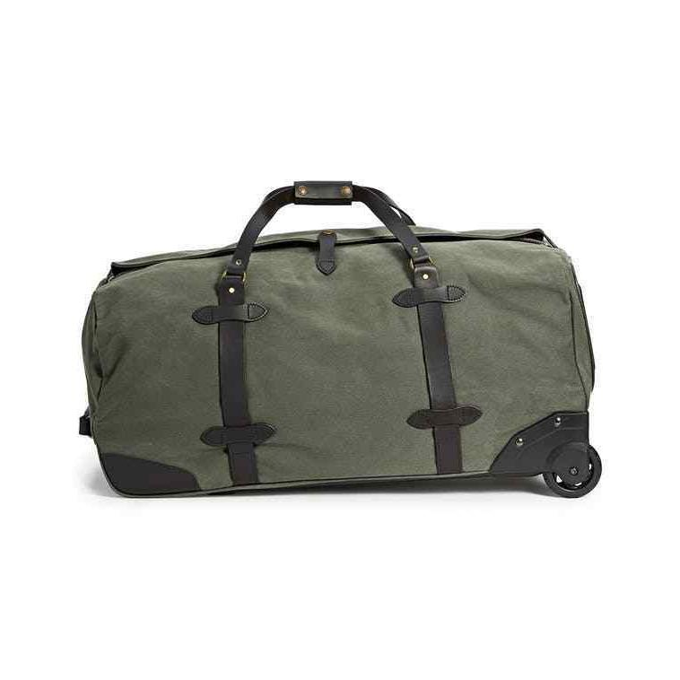 Filson Leather & Tin Cloth Large Rolling Travel Bag / Luggag