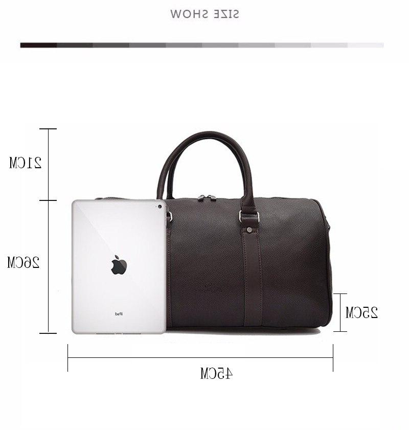 Leather Weekender <font><b>Duffel</b></font> Luggage <font><b>Bags</b></font> for Medium Black