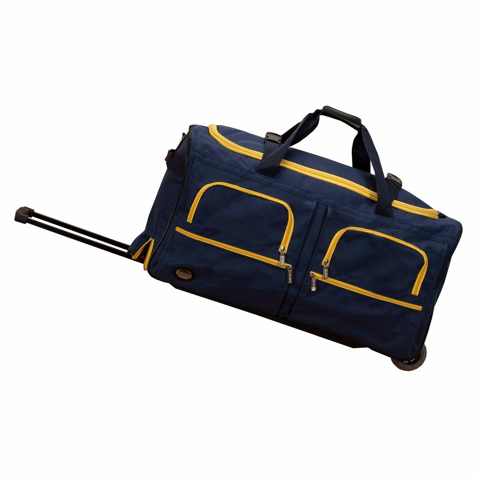 "Rockland Luggage 30"" Rolling Duffle Bag Navy Blue"