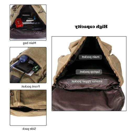 Men Canvas Shoulder Military Camping Duffle Luggage