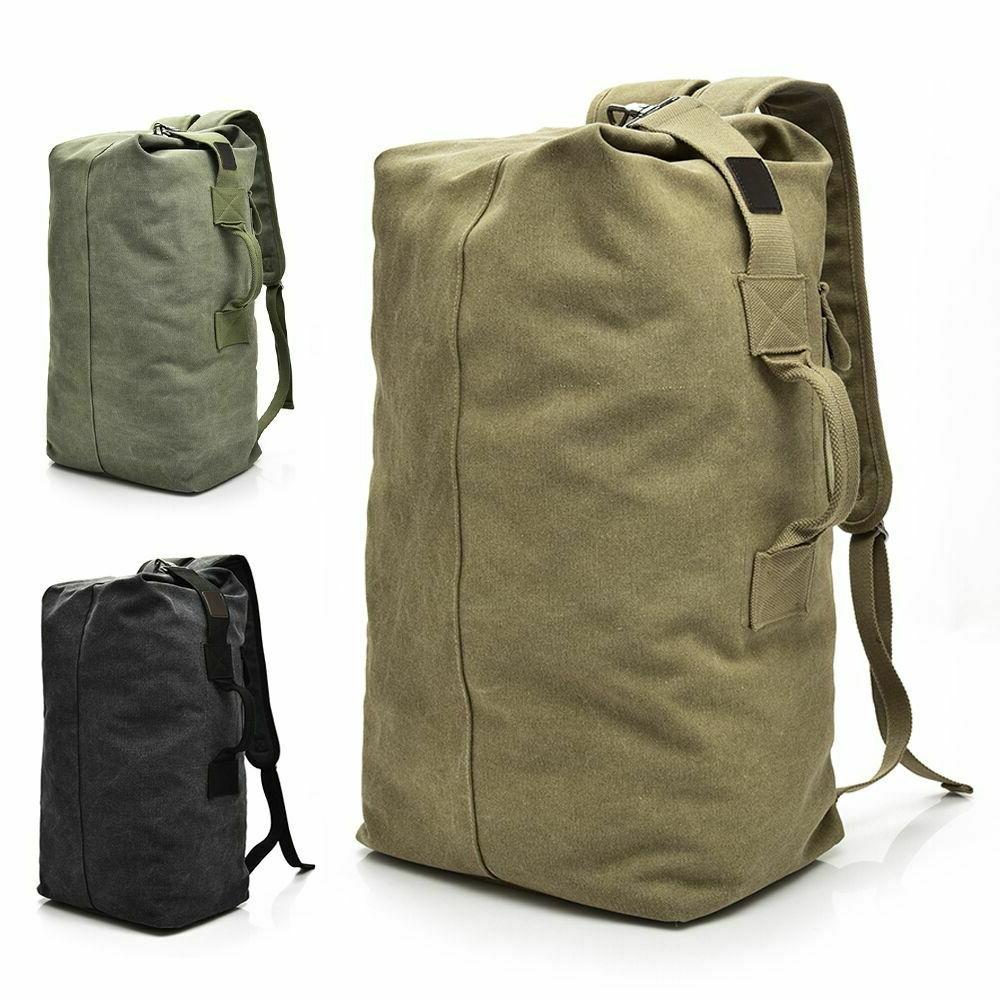 men s canvas backpack rucksack hiking travel