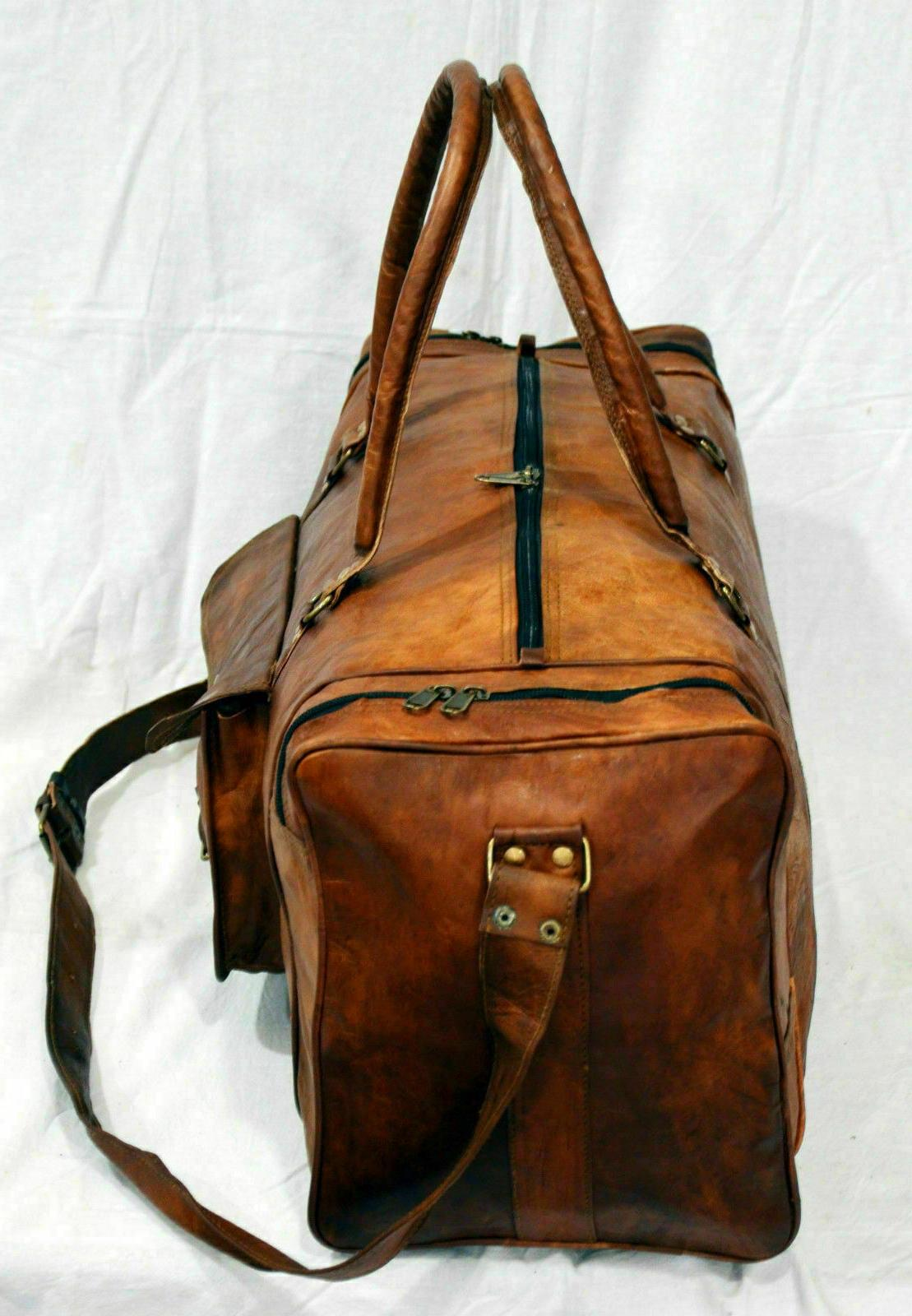 New Hand-Crafted Genuine Brown Travel Duffel Luggage Bag