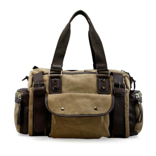 Vintage Canvas Travel Luggage Shoulder Tote Gym