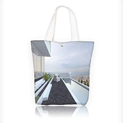 Ladies canvas tote bag Contemporary Luxury House with Panora