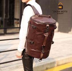 Large US New Mens Duffle Gym Luggage Bag PU Leather Backpack