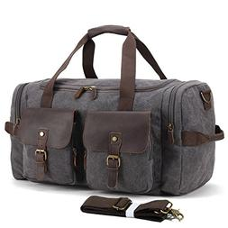 UNISACK Leather Canvas Duffle Bag Weekend Overnight Bag Trav
