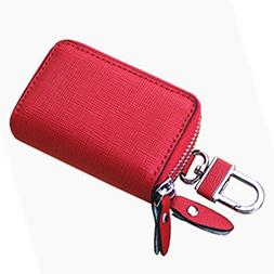 liangdongshop Mens Ladies Leather Double Fastener Car Key Ch