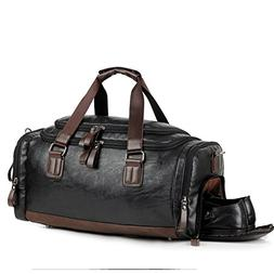 Leather Gym Bag for Men Travel Weekender Overnight Duffel Ba