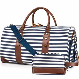 Leather Striped Bag Weekender Style Duffle Travel Canvas Blu