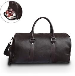 Leather Travel Weekender Overnight <font><b>Duffel</b></font