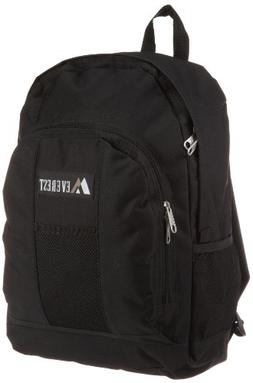 Everest Luggage Backpack with Front and Side Pockets, Black,