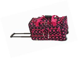 Rockland Luggage Rolling 22 Inch Duffle Bag, Black/Pink Dot,