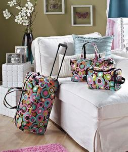 3 Piece Luggage Set - Circles  by LSI Home Products