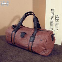 Men Leather Duffle Bag Shoulder Handbag Travel Bag Weekend O