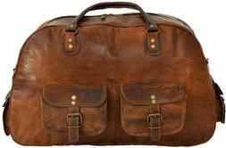 Men's genuine Leather large vintage duffle travel gym weeken