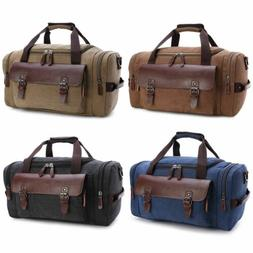 Men Women Leather Canvas Shoulder Bag Carry On Travel Duffle
