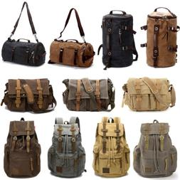 Mens Canvas Backpack Large Rucksack School Bag Travel Campin