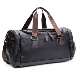 Mens Large Leather Travel Gym Bag Backpack Weekend Overnight