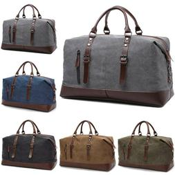 Mens Vintage Canvas Travel Duffle Bag Weekend Overnight Lugg