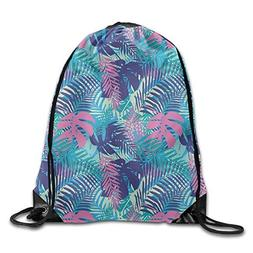 Neon Flowers And Leaves Men & Women Drawstring Backpack Trav