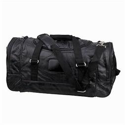"""NEW. 21"""" 100% LEATHER DUFFLE/GYM BAG WITH COMFORTABLE STRAP"""