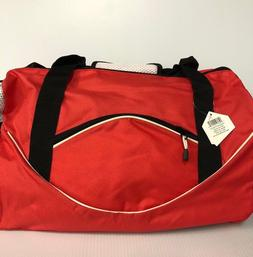 NEW-Hometown Products Red & Black Sports Gym Duffle Bag w/ 4