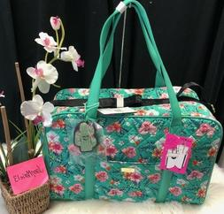 NEW! Betsey Johnson Tropical Mint Green Cactus Weekender Bag