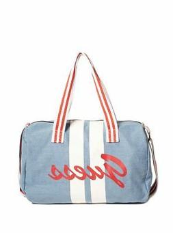 NWT GUESS Light Blue Denim Duffle Bag with Red & White Logo