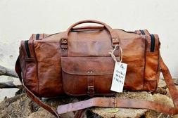 old real brown leather duffle bag sports