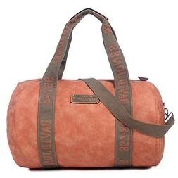Orange Faux Leather Duffels Weekender Gym Travel Bag for Wom