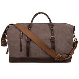 S-ZONE Oversized Canvas Genuine Leather Trim Travel Tote Duf