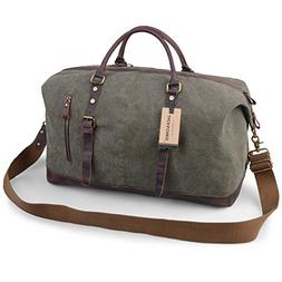 Jack&Chris Oversized Canvas Leather Trim Travel Tote Duffel