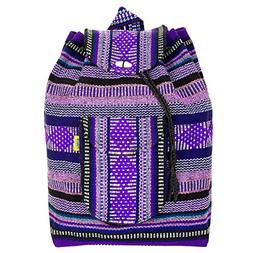 PINZON Large Unisex Hippie Backpack Canvas Rucksack Mexican