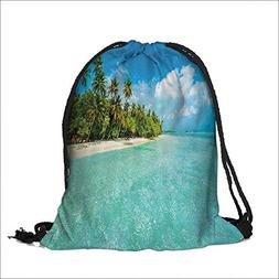 Pocket Drawstring Bag Island with Sandy ach and Palm Tree Na