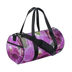 Naanle Purple Orchid Queen Flower Gym bag Sports Travel Duff