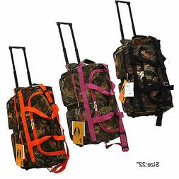 "Real Tree Camo Hunting Rolling Duffle Bag in 22""/30""/36"" wit"