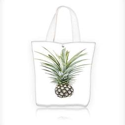 Reusable Cotton Canvas Zipper bag pineapple isolate on white