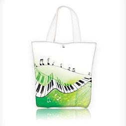 Reusable Cotton Canvas Zipper bag Music Piano Keys Curvy Fin