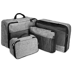 4 Set Packing Cubes, Compression Travel Luggage Organizers w