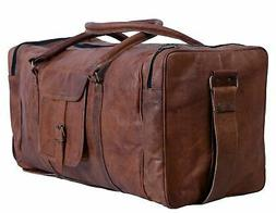 Komal's Passion Leather 24 Inch Square Duffel Travel Gym Spo