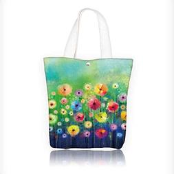 Stylish Canvas Zippered Tote Bag Abstract floral watercolor