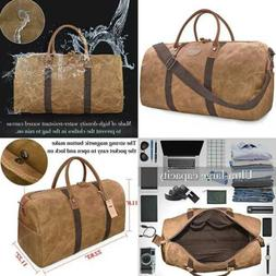 Travel Duffel Bag Waterproof Canvas Overnight Leather Weeken
