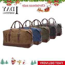 Travel Duffle Vintage Bag Men's Canvas Leather Shoulder Week