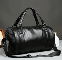 US Men's Large Travel Duffle Gym PU Leather Roll Luggage Sho