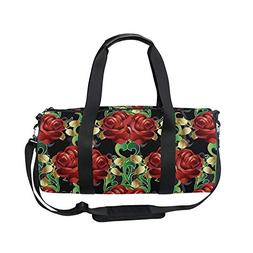 OuLian Vintage Floral Red Flowers Roses Sports Gym Shoulder