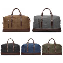 Vintage Men Canvas Travel Duffle Bag Gym Weekend Carry On Sh